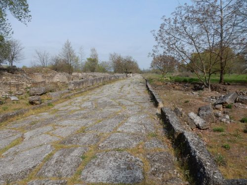 The monument of the main road in the ancient city of Dion is under the responsibility of the Ephorate of Antiquities of Pieria, Hellenic Ministry of Culture and Sports/ Archaeological Resources Fund.